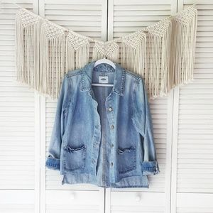 OLD NAVY Distressed Oversized Button Denin Jacket